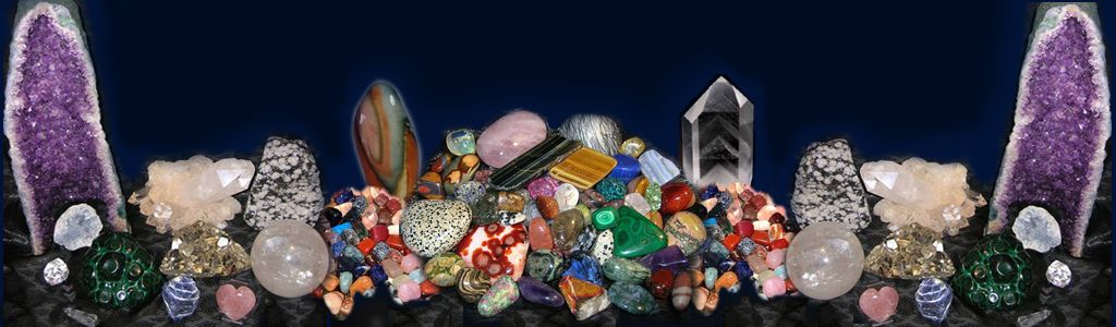 Examples of rocks, crystals and gemstones sold by Dave's Rocks and Carvings